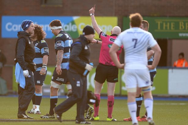 Jarrad Hoeata is sent-off against Leinster