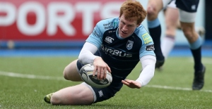 Rhys Patchell scores against Ulster last week