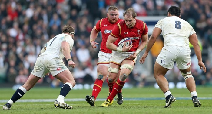 12.03.16 - England v Wales - RBS 6 Nations - Alun Wyn Jones of Wales takes on Joe Marler and Billy Vunipola of England.