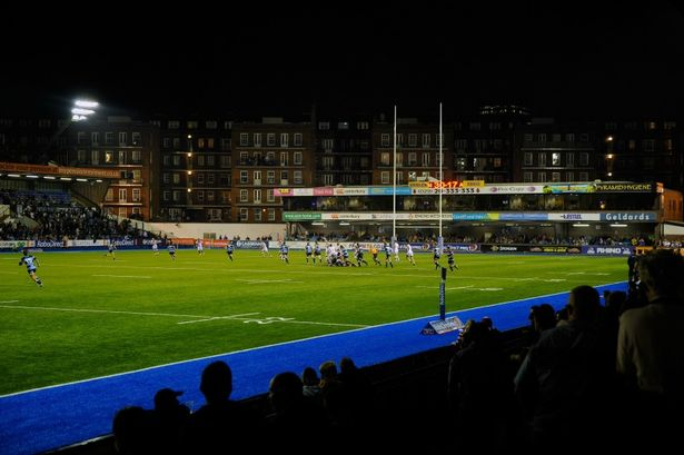 Cardiff Arms Park at night