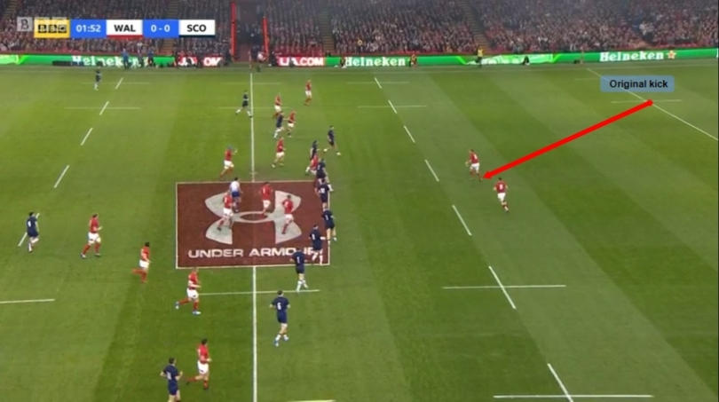 Wales kick analysis end of kick sequence 1 v Scotland