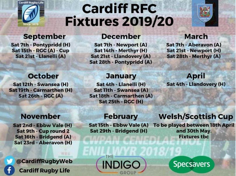 Cardiff RFC Fixtures 2019-20